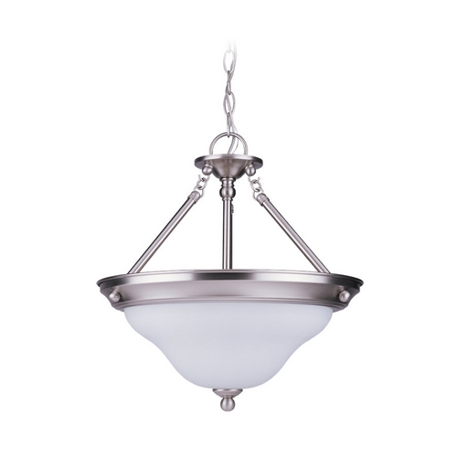 Sea Gull Lighting Pendant Light with White Glass in Brushed Nickel Finish 66062-962
