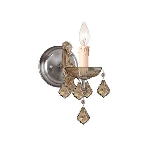 Crystorama Lighting Crystal Sconce Wall Light in Antique Brass Finish 4471-AB-GTS