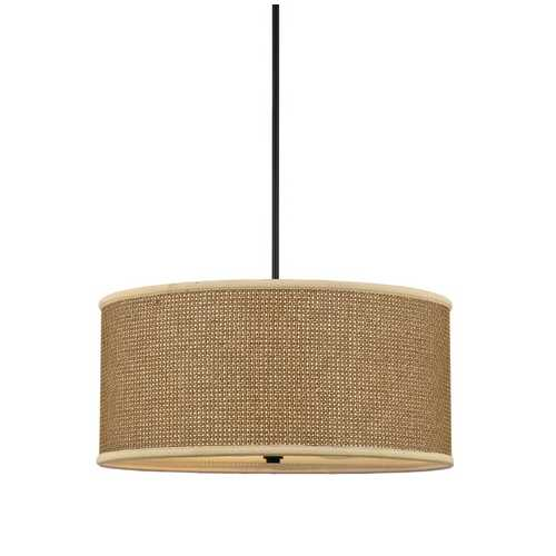 Quoizel Lighting Four-Light Drum Pendant with Rattan Shade ZE2822K