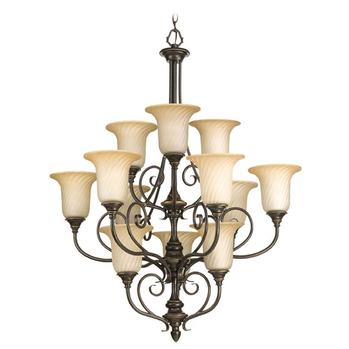 Progress Lighting Chandelier with Beige / Cream Glass in Forged Bronze Finish P4314-77
