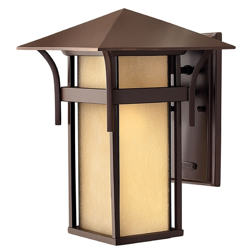 Hinkley Lighting Etched Amber Seeded Glass Outdoor Wall Light Bronze Hinkley Lighting 2574AR-GU24