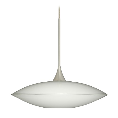 Besa Lighting Besa Lighting Spazio Satin Nickel Mini-Pendant Light with Bowl / Dome Shade 1XT-629406-SN