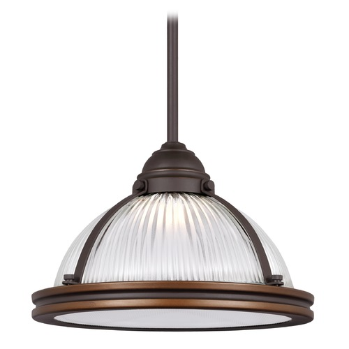 Sea Gull Lighting Farmhouse Prismatic Glass LED Pendant Light Bronze Pratt Street by Sea Gull Lighting 6506091S-715