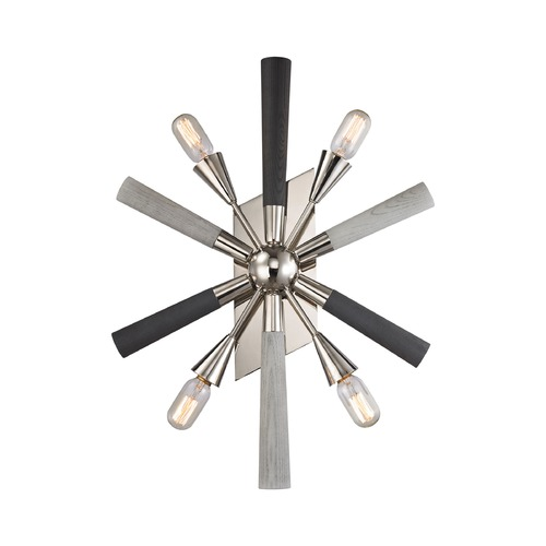 Elk Lighting Mid-Century Modern Sconce Polished Nickel, Grey Washed Woodtone Solara by Elk Lighting 32230/4