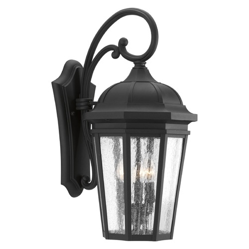 Progress Lighting Seeded Glass Outdoor Wall Light Black Progress Lighting P560016-031