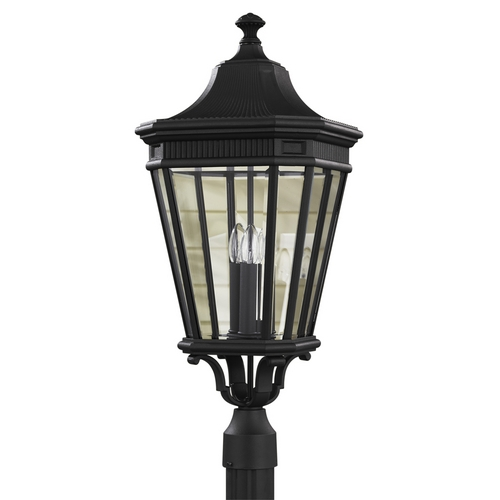 Feiss Lighting Post Light with Clear Glass in Black Finish OL5408BK