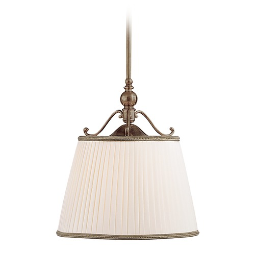 Hudson Valley Lighting Drum Pendant Light with White Shade in Historic Bronze Finish 7711-HB