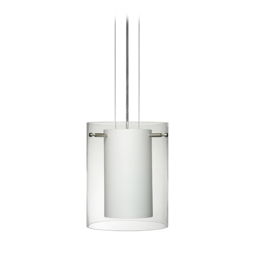 Besa Lighting Modern Pendant Light with White Glass in Satin Nickel Finish 1KG-C00607-SN
