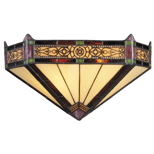 Elk Lighting Sconce with Tiffany Glass in Aged Bronze Finish 08030-AB