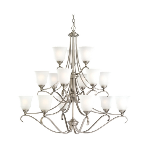 Sea Gull Lighting Chandelier with White Glass in Antique Brushed Nickel Finish 31382-965