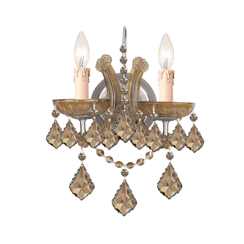 Crystorama Lighting Crystal Sconce Wall Light in Antique Brass Finish 4472-AB-GTS