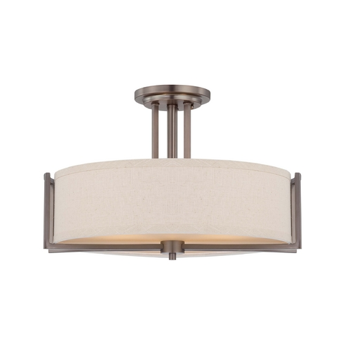 Nuvo Lighting Modern Semi-Flushmount Lights in Hazel Bronze Finish 60/4858