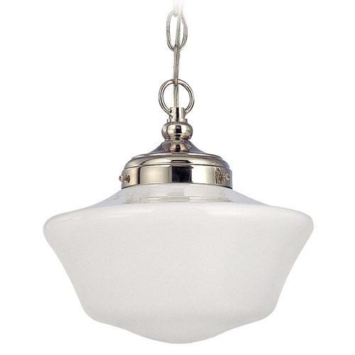 Design Classics Lighting 10-Inch Schoolhouse Pendant Light in Polished Nickel  FA4-15 / GA10 / A-15