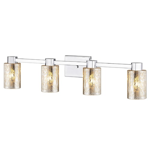 Design Classics Lighting 4-Light Mercury Glass Bathroom Light Chrome 2104-26 GL1039C