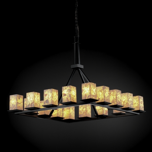 Justice Design Group Justice Design Group Alabaster Rocks! Collection Chandelier ALR-8615-15-MBLK