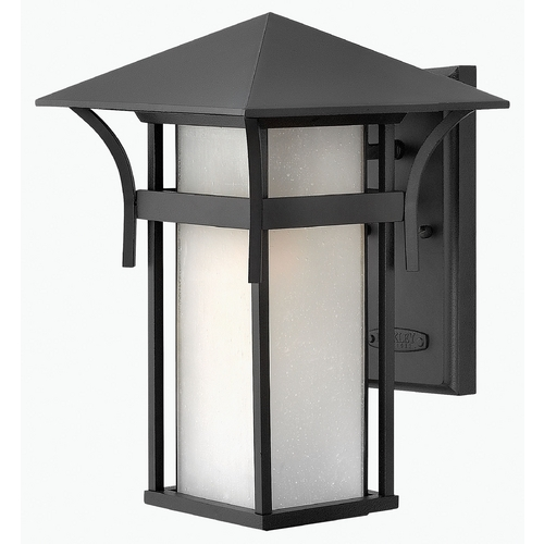 Hinkley Lighting Outdoor Wall Light with White Glass in Satin Black Finish 2574SK-GU24