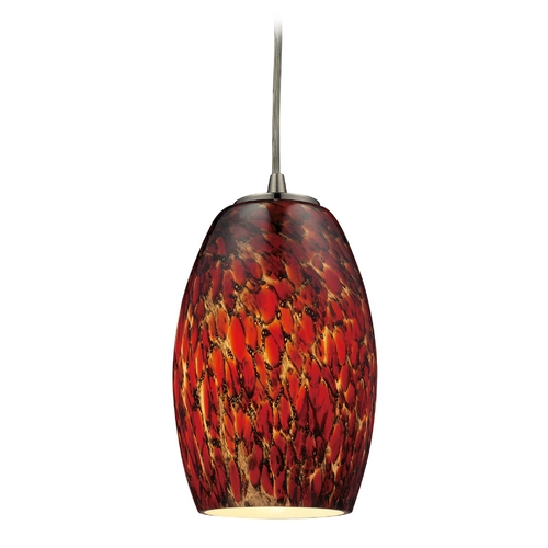 Elk Lighting Modern Mini-Pendant Light with Brown Glass 10220/1EMB