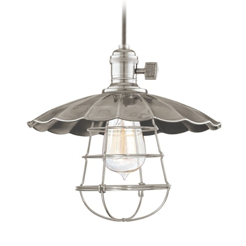 Hudson Valley Lighting Hudson Valley Lighting Heirloom Historic Nickel Pendant Light with Scalloped Shade 8002-HN-MS3-WG