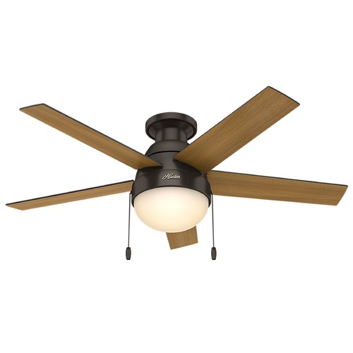 Hunter Fan Company 46-Inch Hunter Fan Anslee Low Profile Premier Bronze Ceiling Fan with Light 59268