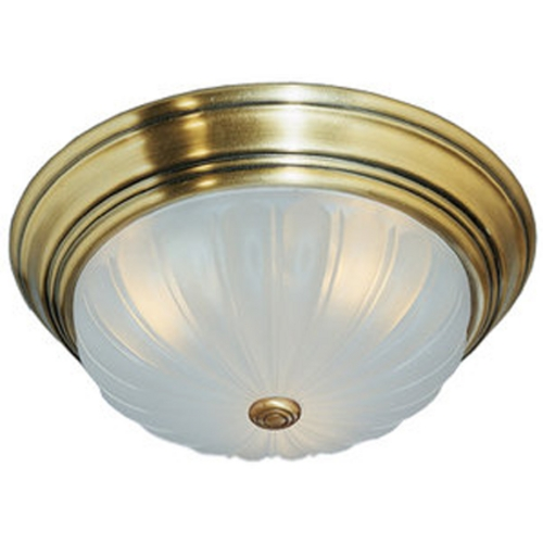 Quoizel Lighting Flushmount Light with White Glass in Antique Brass Finish ML182AUL