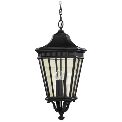 Home Solutions by Feiss Lighting Outdoor Hanging Light with Clear Glass in Black Finish OL5412BK