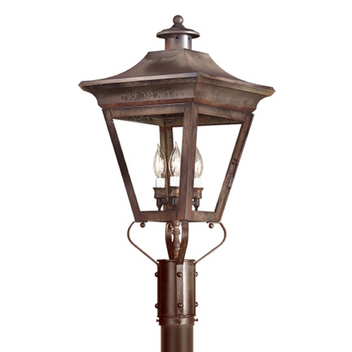 Troy Lighting Post Light with Clear Glass in Charred Iron Finish P8934CI
