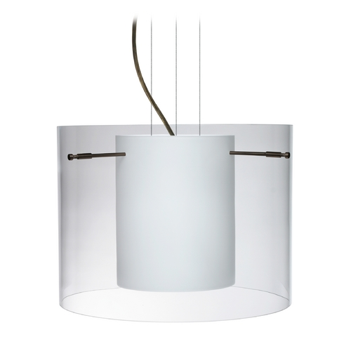 Besa Lighting Modern Pendant Light with White Glass in Bronze Finish 1KG-C00707-BR