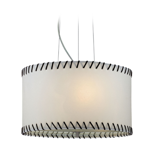 Lite Source Lighting Modern Drum Pendant Light with White Paper Shade in Polished Steel LS-18858