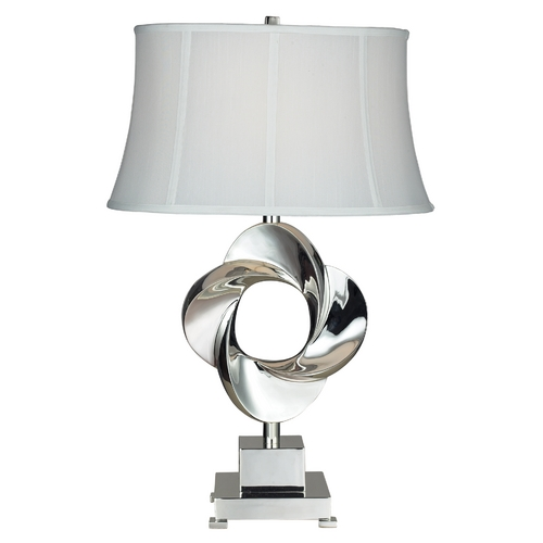 Elk Lighting Modern Table Lamp with White Shade in Chrome Finish D2061