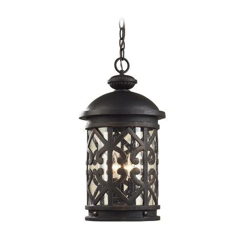 Elk Lighting Outdoor Hanging Light with Clear Glass in Weathered Charcoal Finish 42063/3