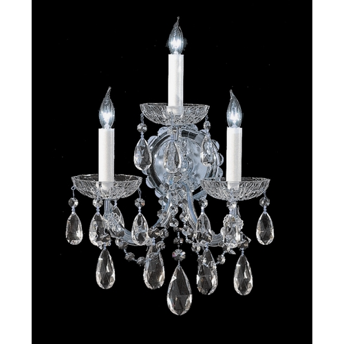 Crystorama Lighting Crystal Sconce Wall Light in Polished Chrome Finish 4403-CH-CL-MWP