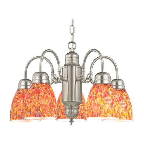 Design Classics Lighting Mini-Chandelier with Art Glass in Satin Nickel Finish 709-09 GL1012MB