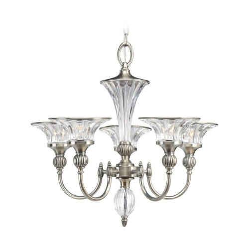 Progress Lighting Progress Crystal Chandelier with Clear Glass in Classic Silver Finish P4506-101