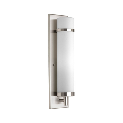 Progress Lighting Modern Sconce Wall Light with White Glass in Brushed Nickel Finish P7082-09