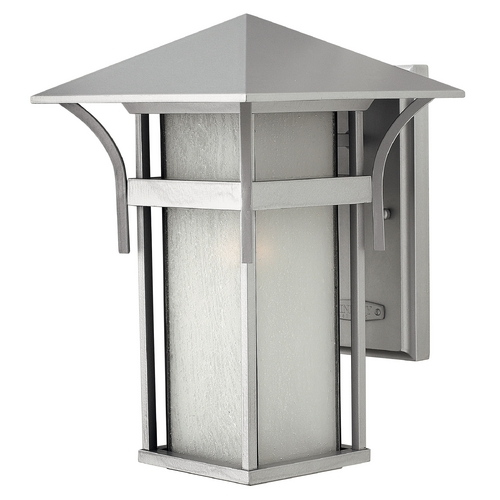 Hinkley Lighting Etched Seeded Glass Outdoor Wall Light Titanium Hinkley Lighting 2574TT-GU24