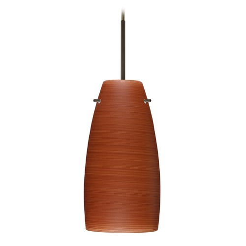 Besa Lighting Besa Lighting Tao Bronze LED Mini-Pendant Light with Oblong Shade 1JT-1512CH-LED-BR