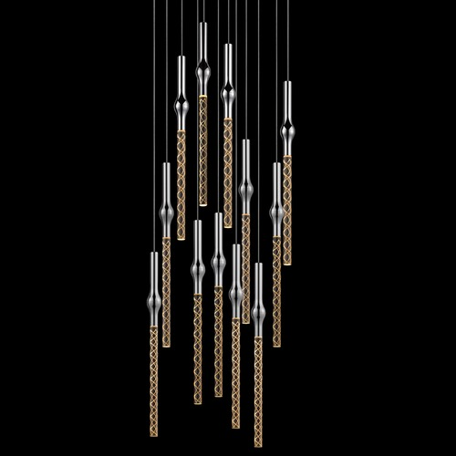 Sonneman Lighting Sonneman Rain Polished Chrome LED Multi-Light Pendant with Cylindrical Shade 2935.01