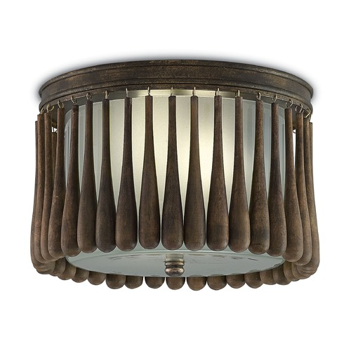 Currey and Company Lighting Currey and Company Gateau Rusticgold / Chestnut Flushmount Light 9999-0014