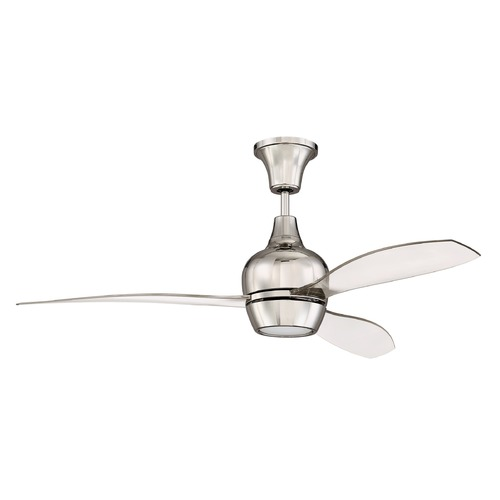 Craftmade Lighting 52-Inch Polished Nickel Ceiling Fan with LED Light 3000K 1350LM BRD52PLN3-UCI