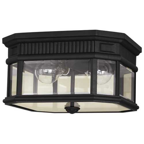 Feiss Lighting Close To Ceiling Light with Clear Glass in Black Finish OL5413BK