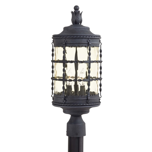 Minka Lavery Post Light with Beige / Cream Glass in Spanish Iron Finish 8885-A39