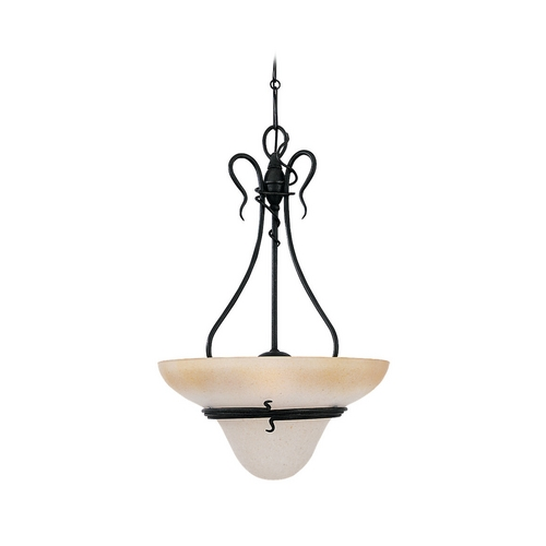 Sea Gull Lighting Pendant Light with Amber Glass in Forged Iron Finish 6614-185