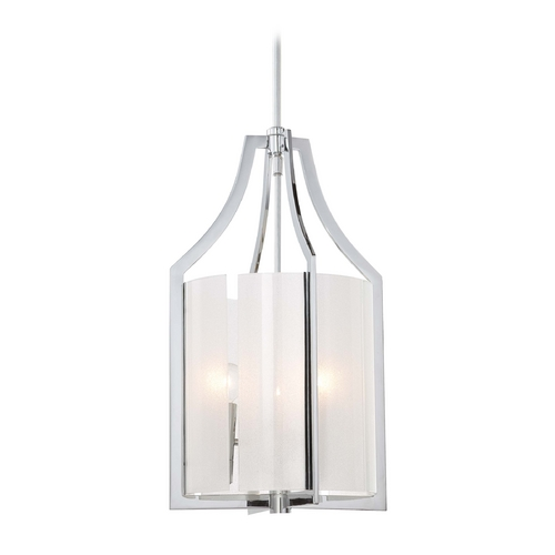 Minka Lavery Pendant Light with White Glass in Chrome Finish 4392-77