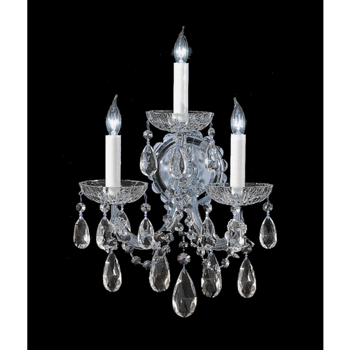 Crystorama Lighting Crystal Sconce Wall Light in Polished Chrome Finish 4403-CH-CL-S