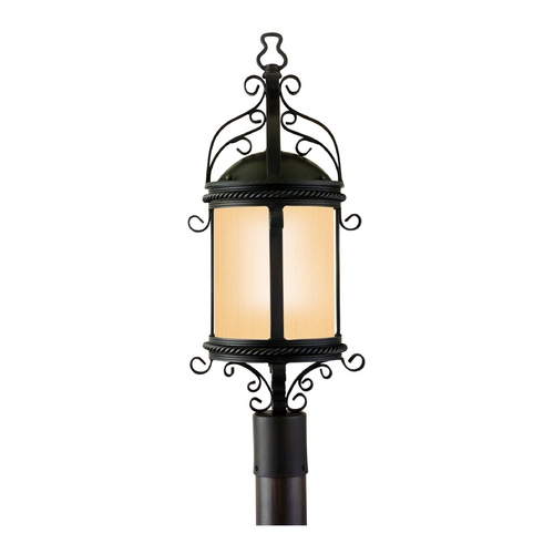Troy Lighting Post Light with Amber Glass in Old Bronze Finish PF9123OBZ-D