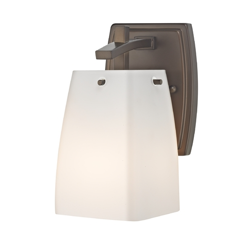 Design Classics Lighting Sconce Wall Light with White Glass in Neuvelle Bronze Finish 9441-220