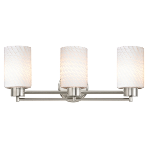 Design Classics Lighting Modern Bathroom Light with White Glass in Satin Nickel Finish 703-09 GL1020C