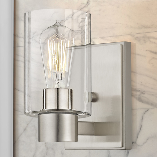 Design Classics Lighting Clear Glass Sconce Satin Nickel 2101-09 GL1040C