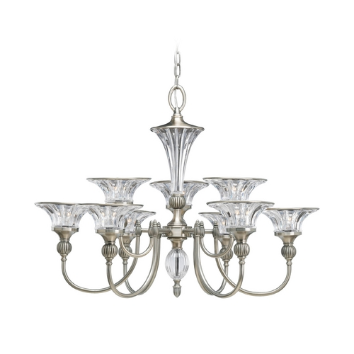 Progress Lighting Progress Crystal Chandelier with Clear Glass in Classic Silver Finish P4507-101