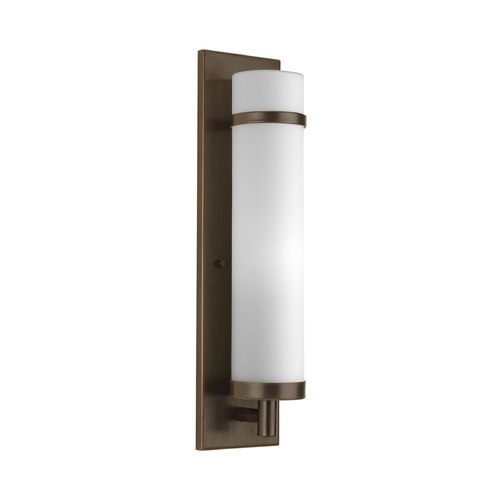 Progress Lighting Modern Sconce Wall Light with White Glass in Antique Bronze Finish P7082-20